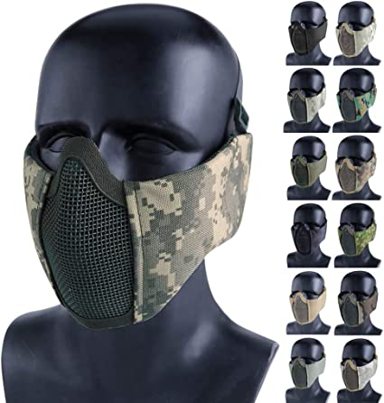 Tactical Half Face Airsoft Steel Mesh Hunting Mask Protect Cover Breathable Camo