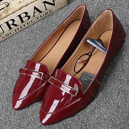 &qq Zapatos planos femeninos, sencillos salvajes, boca superficial puntiaguda, zapatos sencillos 38