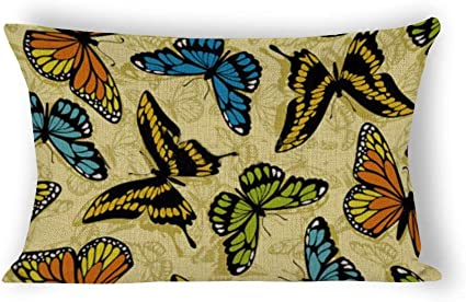 Butterfly Pattern Lumbar Throw Pillow Case Cotton Linen Rectangle Cushion Cover Home Sofa Decorative 12 X18 Amazon Co Uk Kitchen Home