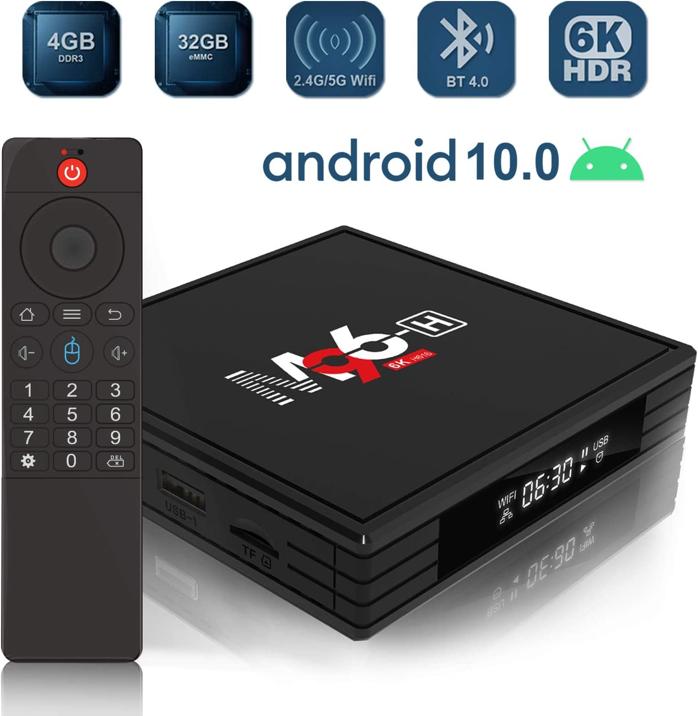 HUIBEST 2020 Newest Android 10.0 TV Box, M96-H Android TV Box 4GB RAM 32GB ROM with Allwinner H616 Quad-core 64bit, Support 2.4G/5G WiFi/BT4.0/6K UHD/3D/USB/H.265/HDMI/AV-Out/Standard RJ45
