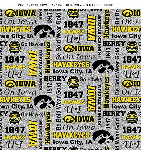 University of Iowa Fleece Blanket Fabric-Iowa Hawkeyes Heather Grey Fleece Fabric Sold by The Yard