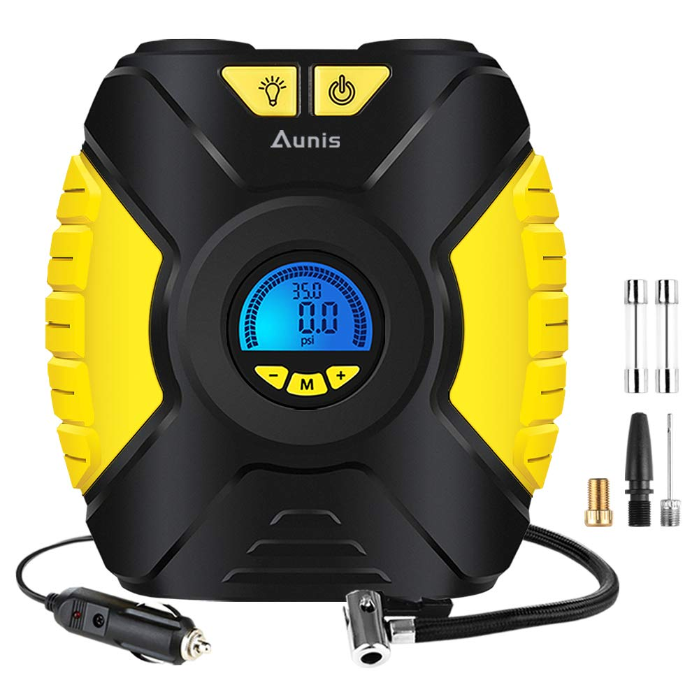 3 Adapters Auto Cut Off Wonyered Tyre Inflator Digital Car Air Compressor Portable Tyre Pump 12V with Pressure Gauge LED Light and 3M Cable