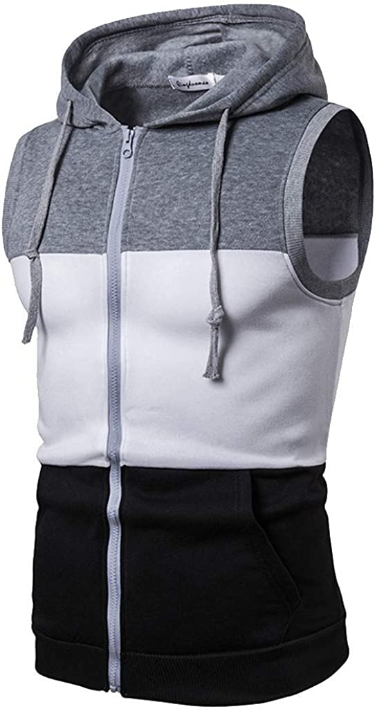 Prime Mens Slim Fit Tank Top Hoodie Workout Zip-Up Sleeveless Vest Triple Color Stripe Tee