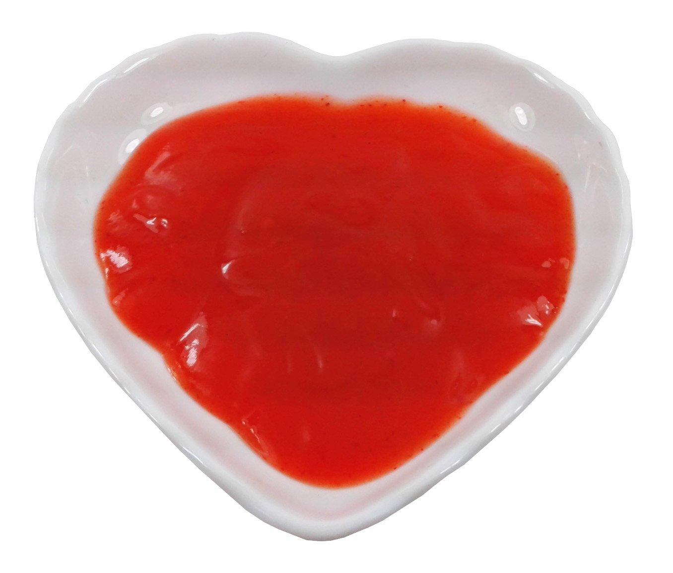 Super White Heart Shape Small Wavy Edge Porcelain Sauce Dish (12 Count)