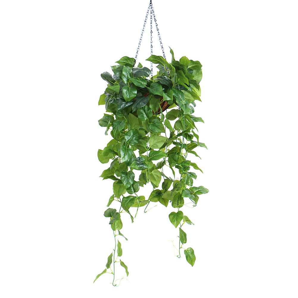 A LianLe Artificial Flower Wall Hanging Silk Plant Bonsai Scindapsus Aureus Hanging Basket Home Decoration