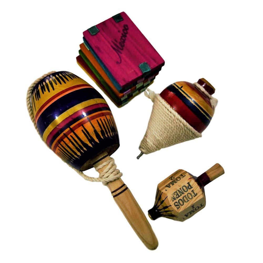 4 Pack Autentic Mexican Toys Made in Mexico (Balero, Trompo, Pirinola, Tablita Magica, Assorted Colors)