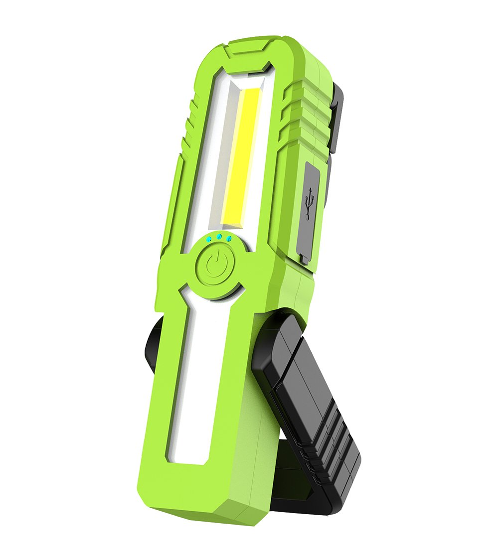 RABOW Rechargeable COB LED Work Light, 250 Lumen,with Hook and Magnetic Base, 3 Light Modes Portable Flood Light, Soft Rubber Wrapped Work Lantern