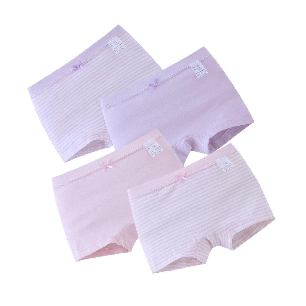 ADAHOP Girls' Boyshort Hipster Panties Cotton Panty Underwear (Pack of 4)
