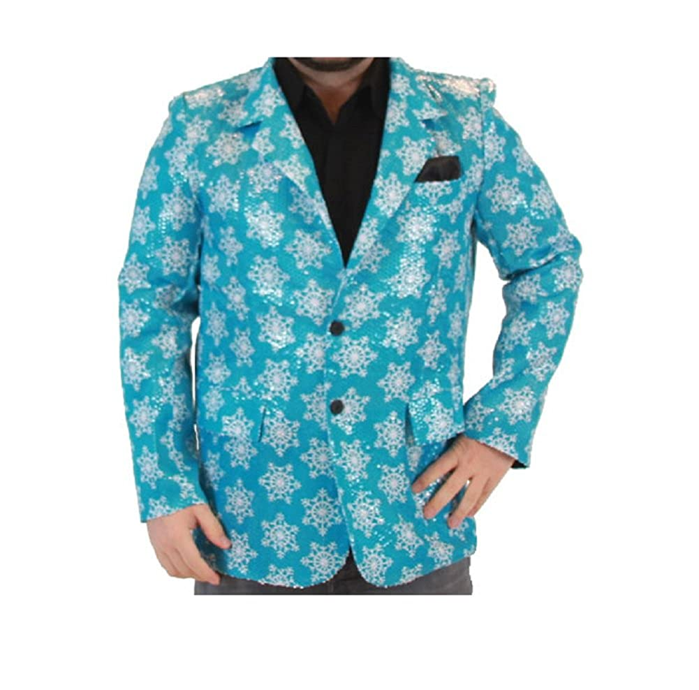 Sequin Snowflakes Blue Ugly Christmas Suit Jacket