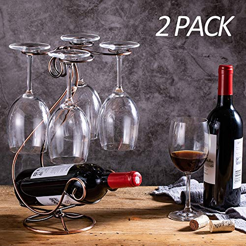 KerKoor Wine Rack Tabletop Free Standing Stackable Wine Glass Holder Metal Racks for Home, Kitchen, Holiday, Party 2 Pack (Holder Wine Tabletop)