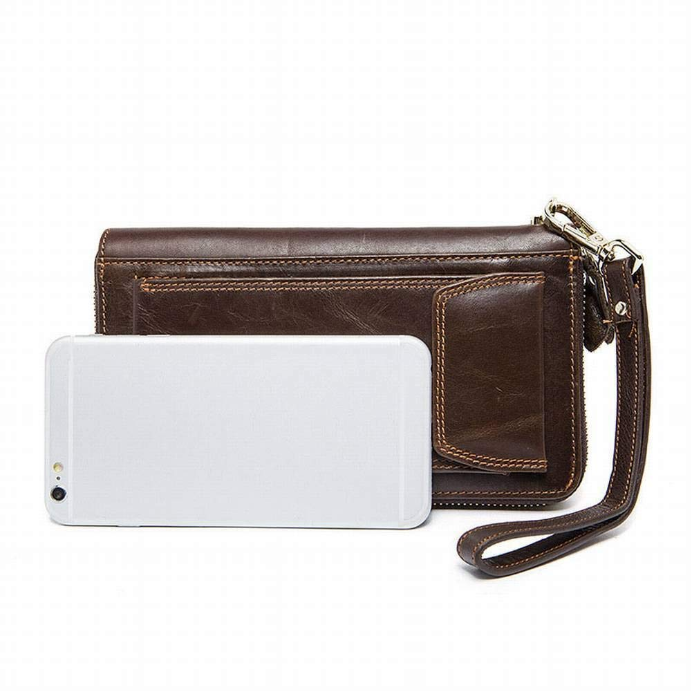 Creative Multifunctional Mens Long Wallet Wallet Casual Zip Clutch Bag Leather Phone Case for Men