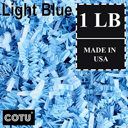 1 LB Light Blue Shred Gift Basket Shred Crinkle Paper Filler Bedding by COTU (16 -