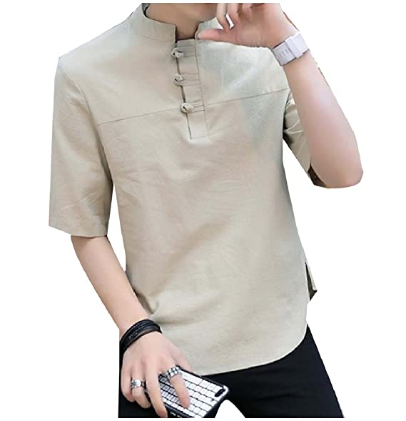 Tootlessly-Men Solid Color Short Sleeve Button-up Shirt Blouse Tops Baby Products