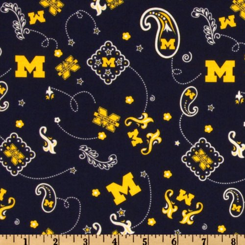 44'' Wide Collegiate Cotton Broadcloth University of Michigan Bandana Blue Fabric By The ()
