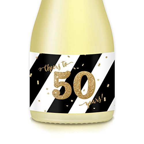 Ideas For Womans 50th Birthday Party Decorations Mini Champagne Wine Bottle Labels Set Of 20Cheers To 50 Years Decals Wife Mom Sister Grandmom
