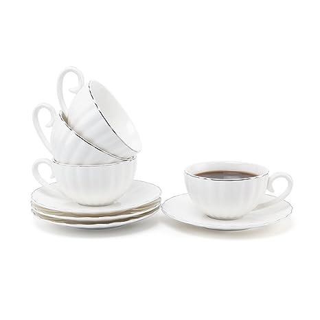 Rachels Choice 7.5oz/220ml Porcelana Blanca Turco Taza de Café Adornos de Plata Taza