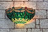 Gweat 13inch Vintage Pastoral Stained Glass Tiffany Dragonfly Wall Lamp Hallway Wall Sconce Lamp Fixture