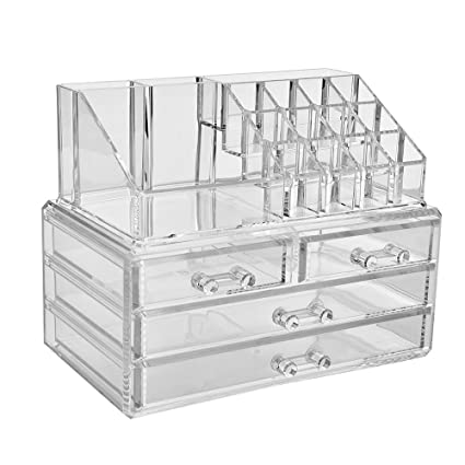 Jewelry And Cosmetic Storage Boxes With Brush Holder With 4 Drawer 2 Pieces  Set