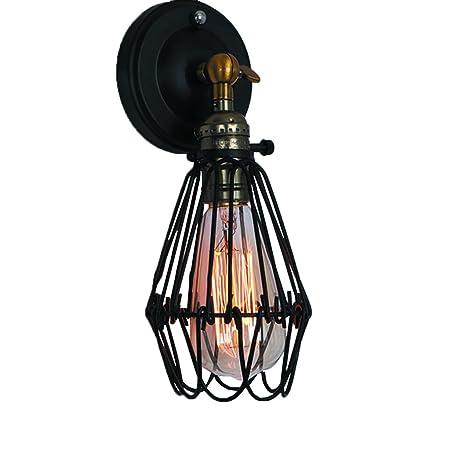 Lámpara de pared industrial de la vendimia Jaulas de metal negro ...