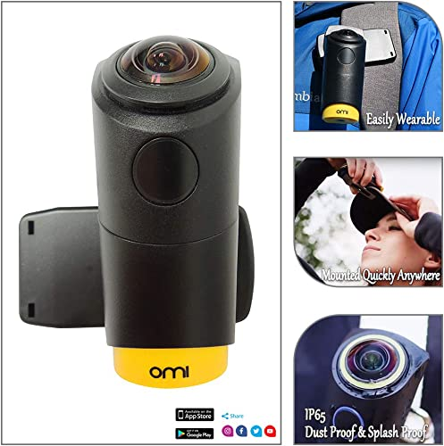 OmiCam II Wearable VR Action Camera with 4K 240 Degrees View Image Stablization Sports Travel Camera for Outdoor Blogging Virtual Reality New and Upgraded Edition