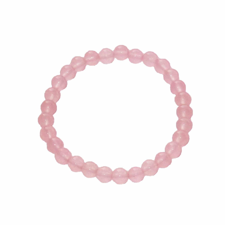Pulsera Cuarzo rosa 20cm - Bolas de piedra 6mm - Cin cierre