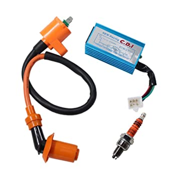 New Pack of Racing Ignition Coil + 5 Pins Cdi Box + 3 Electrode Spark Plug  for Chinese Made 50c 70cc 90cc 110cc 125cc Dirt Bike Atv Go Kart Chopper