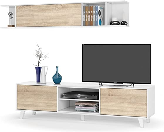 Habitdesign 0F6634BO - Mueble de salón Comedor, módulo TV + Estante, Color Blanco Brillo y Roble Canadian, Medidas: 180x54x41 cm de Fondo: Amazon.es: Hogar