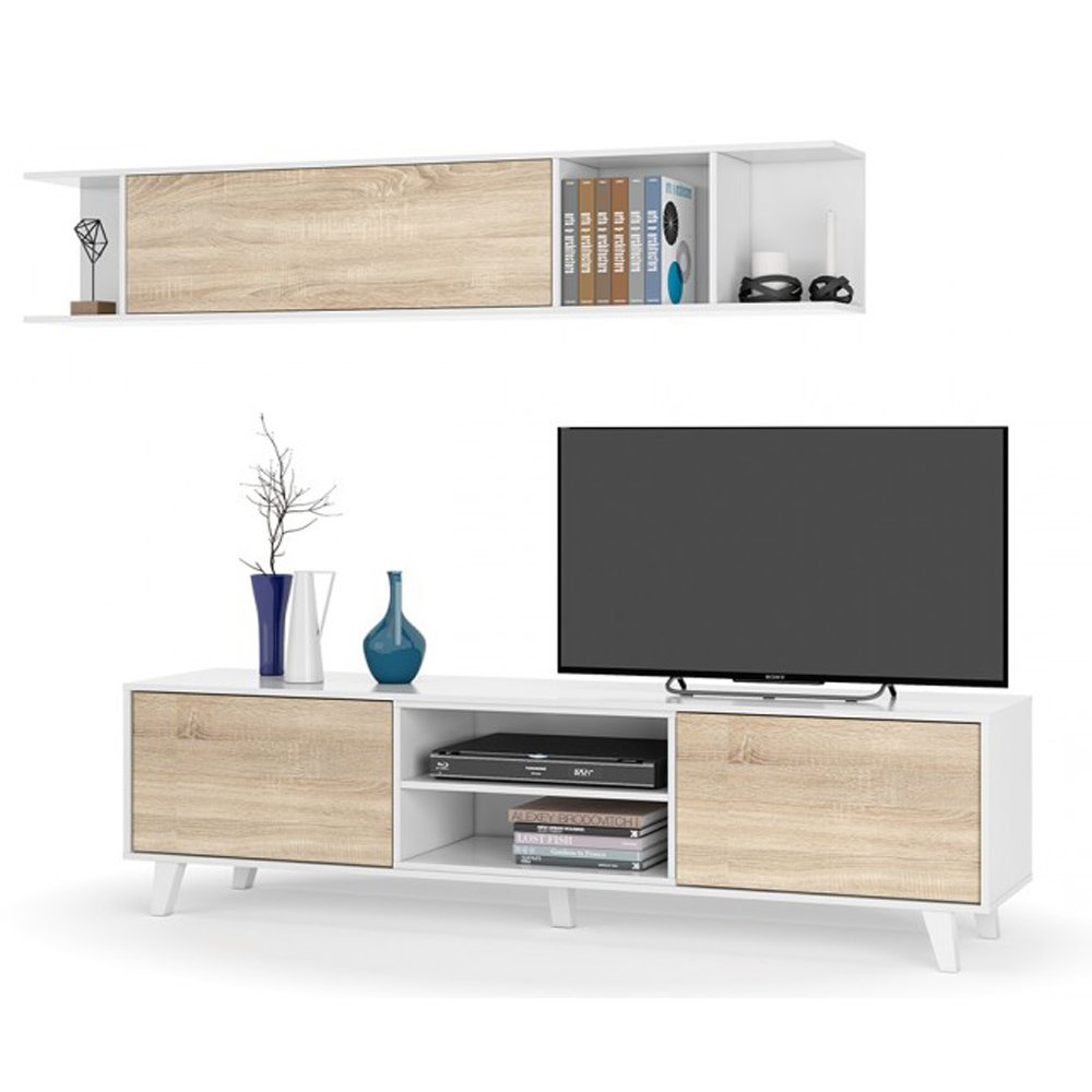 Zaiken Plus Meuble Tv Scandinave Blanc Brillant Et D Cor Chene L  # Meuble Tv Zaiken Plus