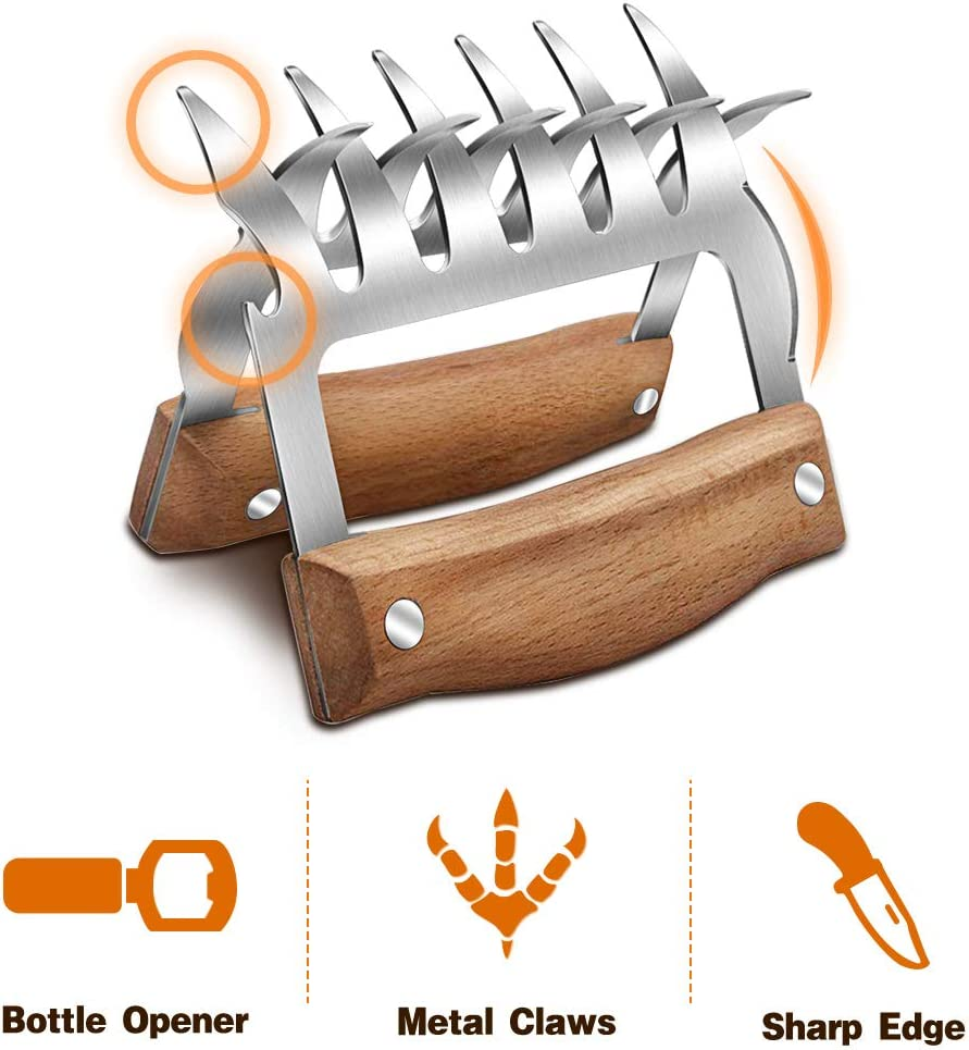 Handing Turkey Brisket 2 Pcs Pulling Best Meat Claws for Shredding Lifting /& Serving Pork Stainless Steel Meat Forks with Wooden Handle Chicken Metal Meat Claw