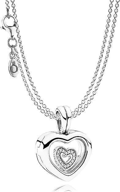 Pandora En Argent Et Pendentif en forme de cœur avec chaîne médaillon 08382