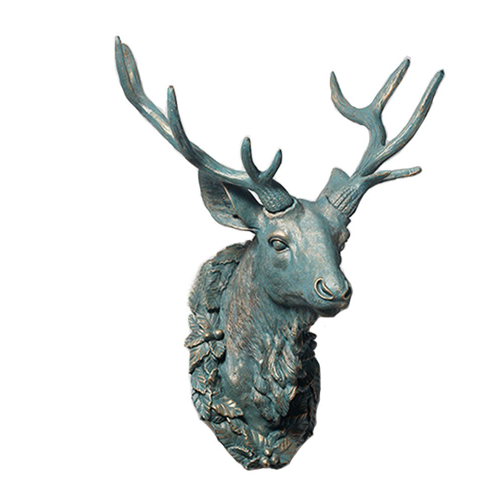 Animal Head by Wall Charmers | Silver Faux Head Mount Bust Fake Animal Resin Taxidermy Decorative animal Head Mounted Replica Decor Art (White-lipped deer)