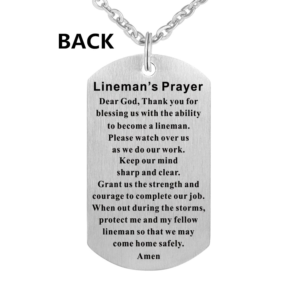 Lineman Prayer Necklace Stainless Steel Dog Tag Gift Idea from Wife Pendant Keyring by Freedom Love Gift (Image #3)