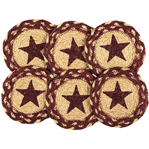 VHC Brands Classic Country Primitive Tabletop & Kitchen - Burgundy Tan Jute Red Stencil Star Coaster Set of 6, (Decor Country Cheap)