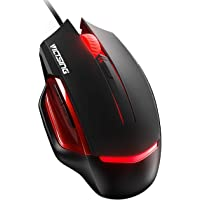 VicTsing Gaming Maus, PC Maus 6 programmierbare Tasten, Hohe Präzision Gamer Maus, Wired Laptop Maus, Bunte LED Hintergrundbeleuchtung, Maus USB, kompatibel mit Mac OS,Windows, Schwarz