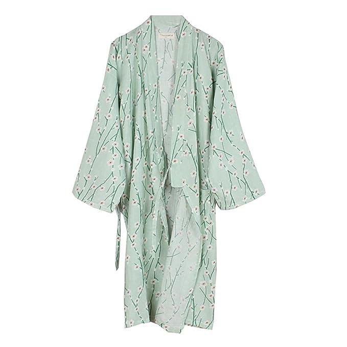 Fancy Pumpkin Bata de algodón Japonesa para Mujer Bata de algodón Kimono Pijama de Flores A
