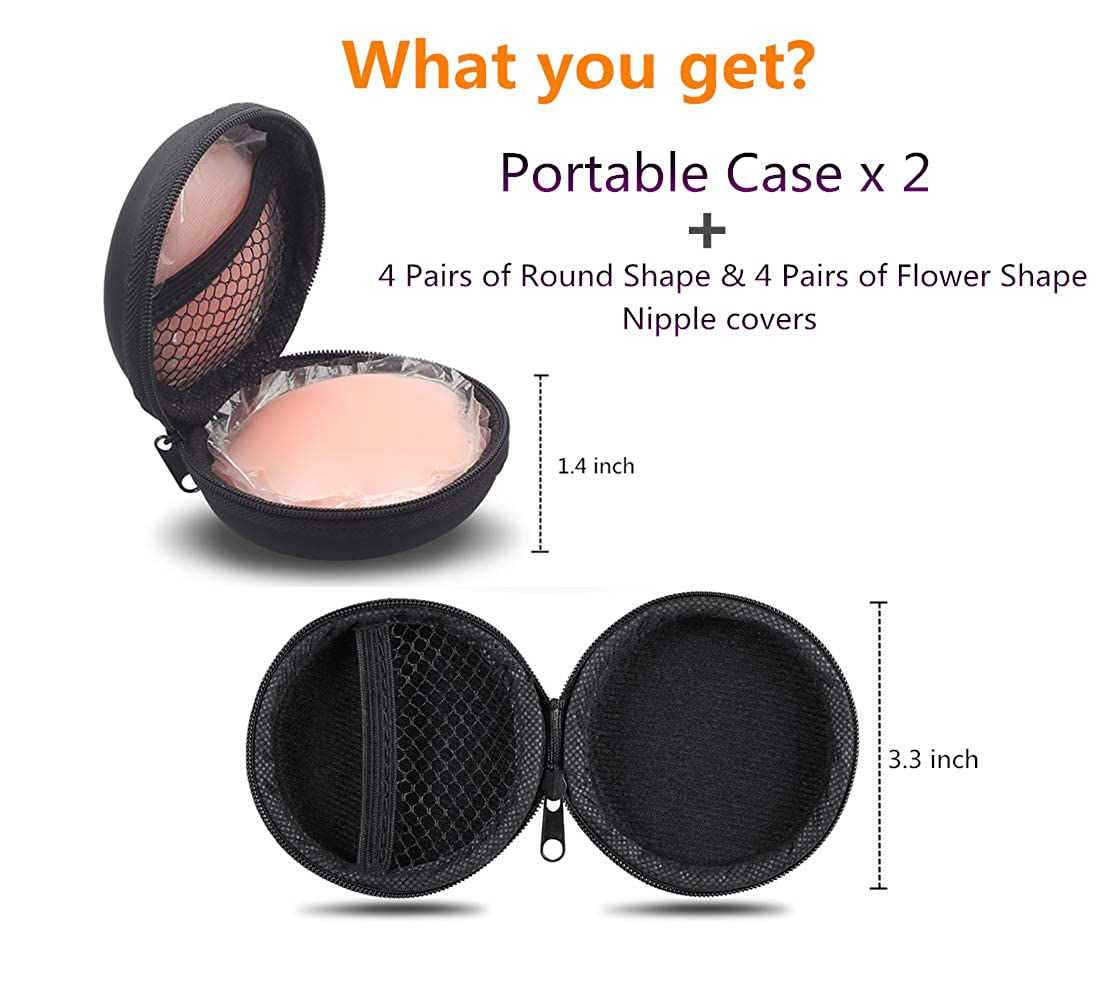 Nipple Covers Reusable with Carry Case Adhesive Silicone Pasties for Women