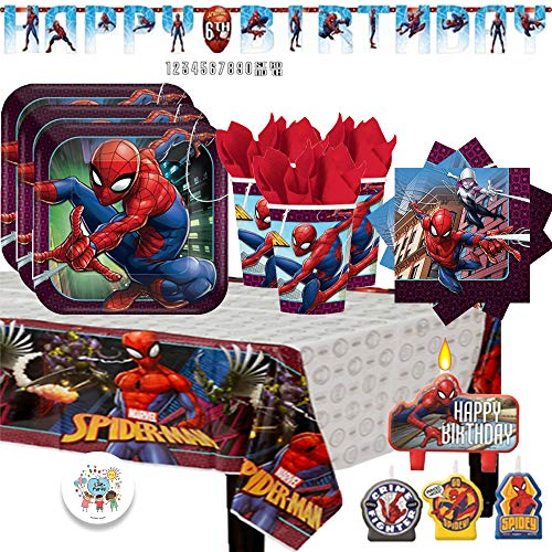 Spiderman Party Supply Pack with Birthday Banner, Plates, Cups, Napkins, Tablecover, Birthday Candles, and Exclusive Birthday Pin by Another -