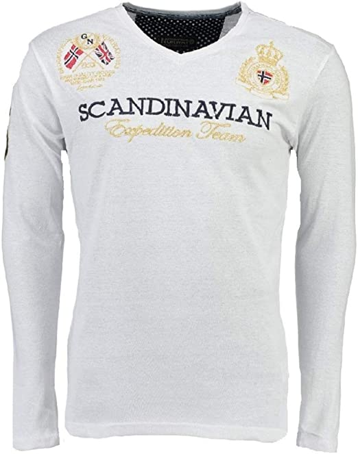 TALLA M. Geographical Norway Jevin LS Men Camiseta para Hombre