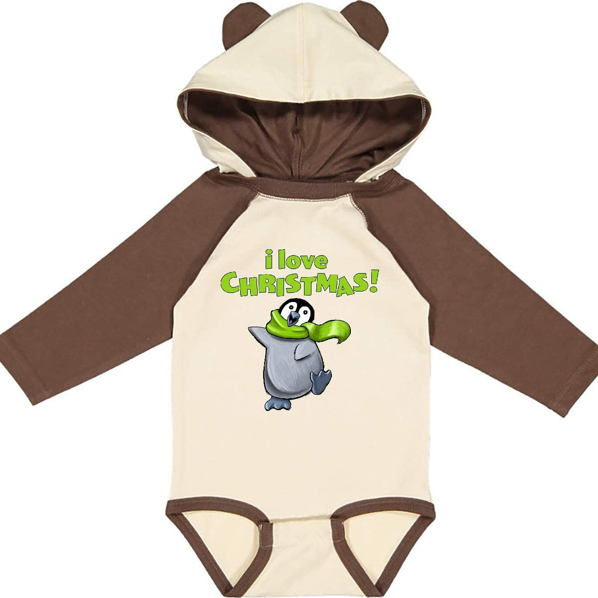 inktastic I Love Christmas Penguin with Green Scarf Long Sleeve Creeper
