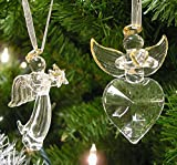Angel Christmas Decorations - Set of 2 Crystal Angels - Hanging Angels with Gold Trim and Angel Wings