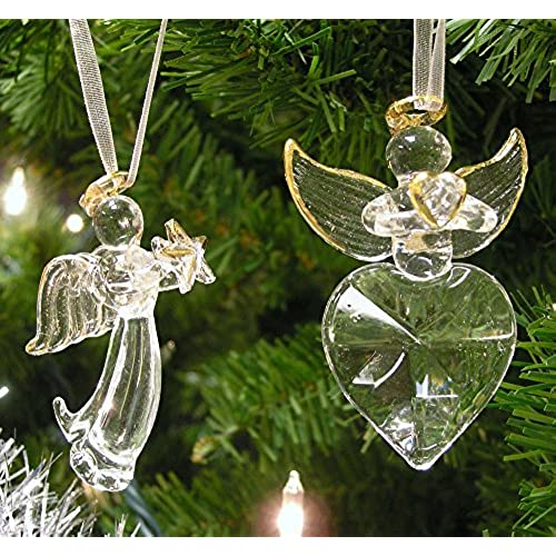 angel christmas decorations set of 2 crystal angels hanging angels with gold trim and angel wings - Christmas Angel Decorations