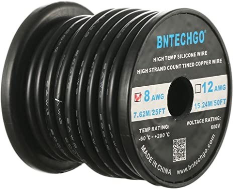 BNTECHGO 12 Gauge Silicone Wire Ultra Flexible Red 10 feet high Temp 200 deg C 600V 12 AWG Silicone Rubber Insulation Wire Electric Wire for Model 680 Strands of Tinned Copper Wire Stranded Wire bntechgo.com
