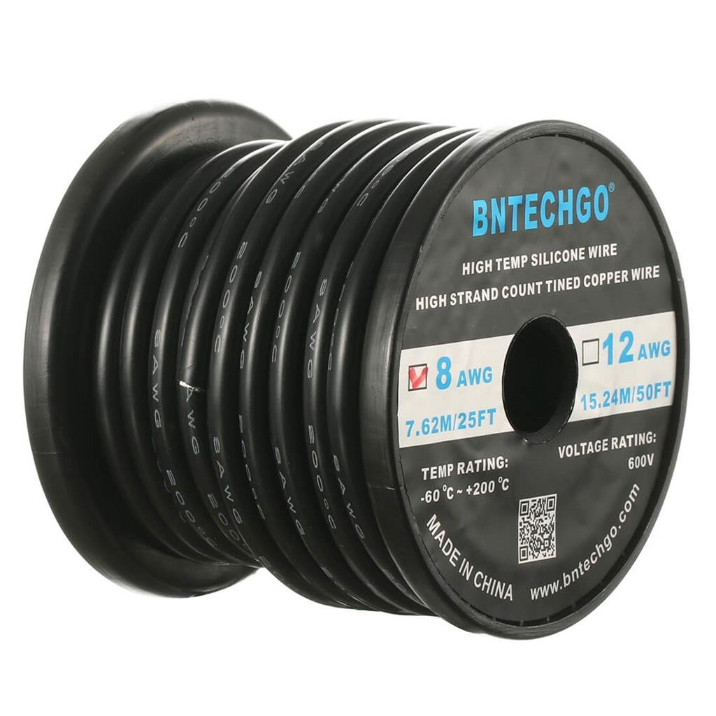 BNTECHGO 8 Gauge Silicone Wire Spool Black 25 ft Ultra Flexible High Temp 200 deg C 600V 8AWG Silicone Rubber Wire 1650 Strands of Tinned Copper Wire Stranded Wire for Model Battery Low Impedance