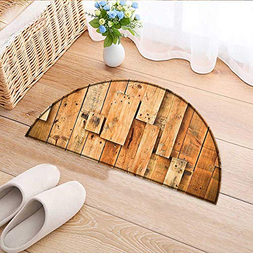 Kitchen Rugs Floor mats Style Teak Hardwood Wall Planks Image Print Farmhouse Vintage Grunge Design Artsy Amber Waterproof Semi-Circular Door Mat Floor Mats W59 x H35 INCH