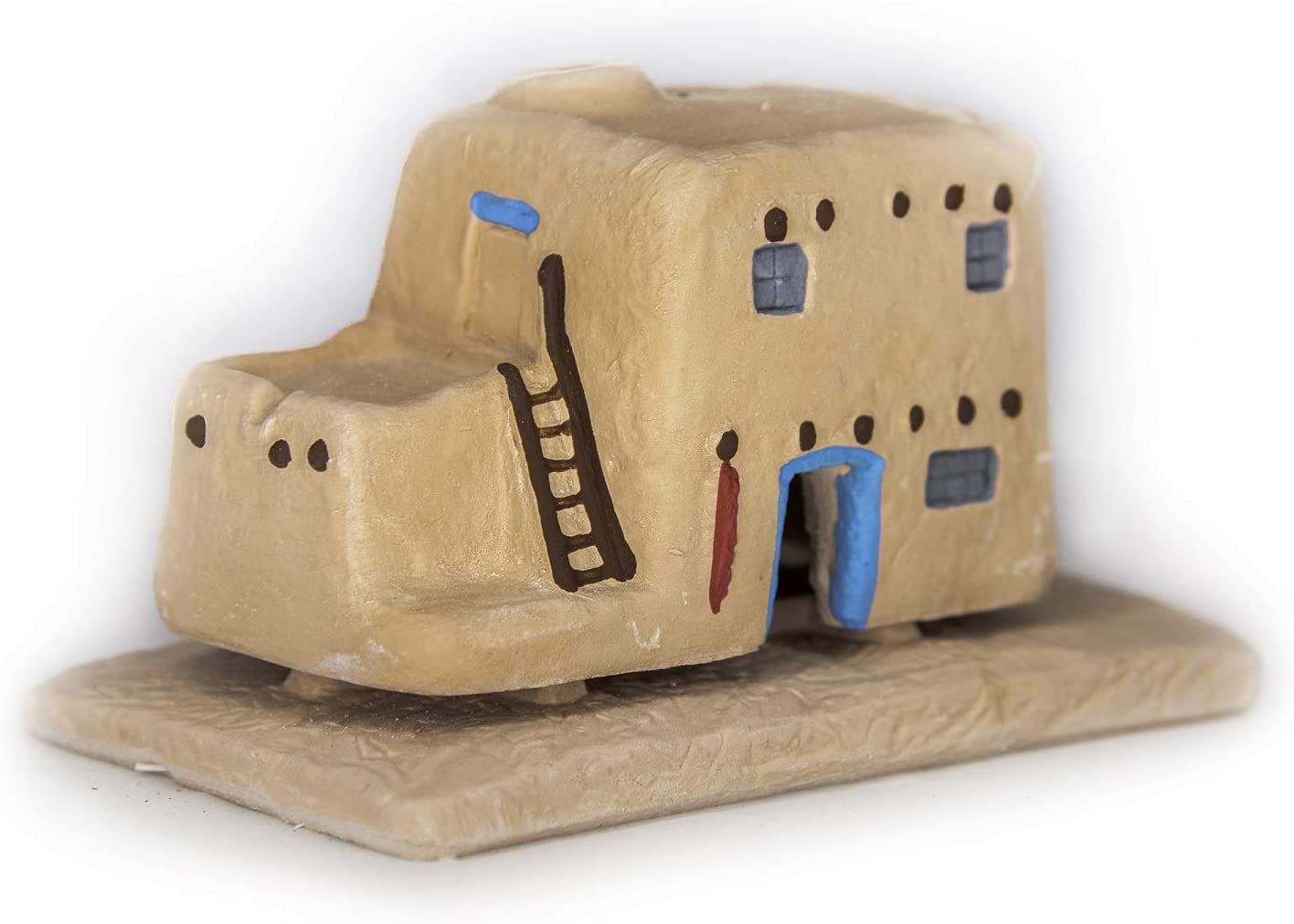 Incienso de Santa Fe - Casa de Adobe Natural Wood Incense Burner, Includes 20 Piñon Incense Bricks
