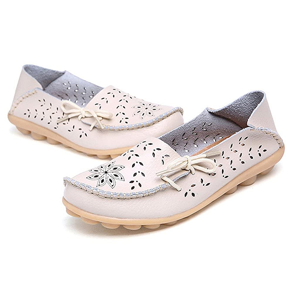 27b032c17cc DUOYANGJIASHA Fashion Brand Best Show Women s Leather Loafers Flats Casual  Round Toe Moccasins Wild Breathable Driving Shoes  Amazon.ca  Shoes    Handbags