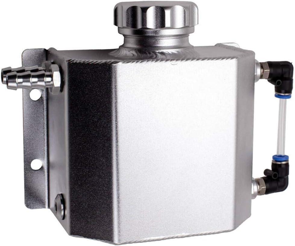 Gcdn Universal 1L Aleación de Aluminio Radiador Automático Depósito de Expansión Del Refrigerante con Tapón de Drenaje 1000ml
