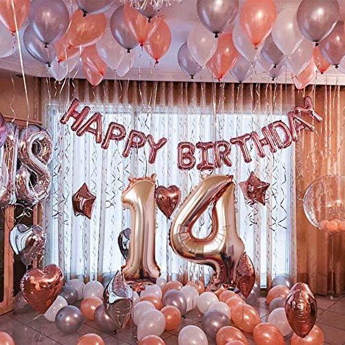 14 /° compleanno deco per ragazza ragazzo buon compleanno ghirlanda stagnola palloncino palloncini coriandoli palloncini deco compleanno numero palloncini 14 compleanno ragazza decorazione oro rosa