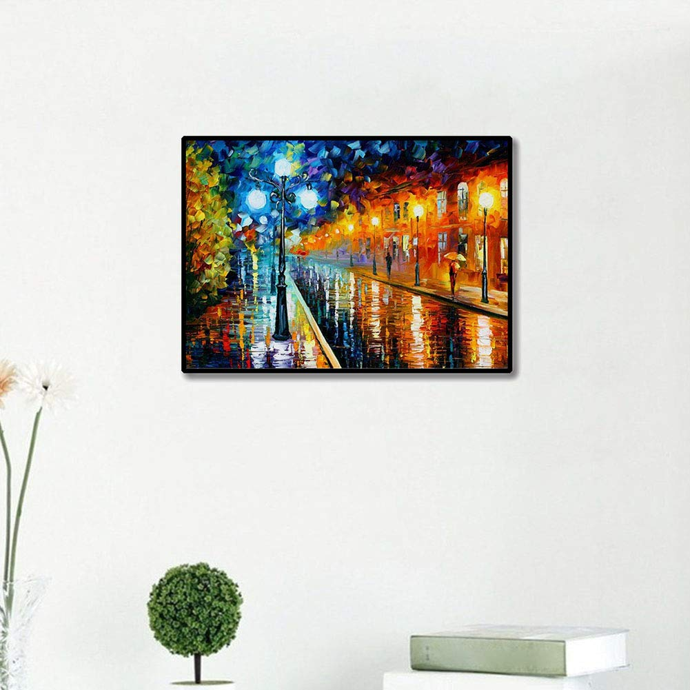 LamicAR 30x45cm Street View Full Round Diamond Painting Cross Stitch Embroidery Decor a267