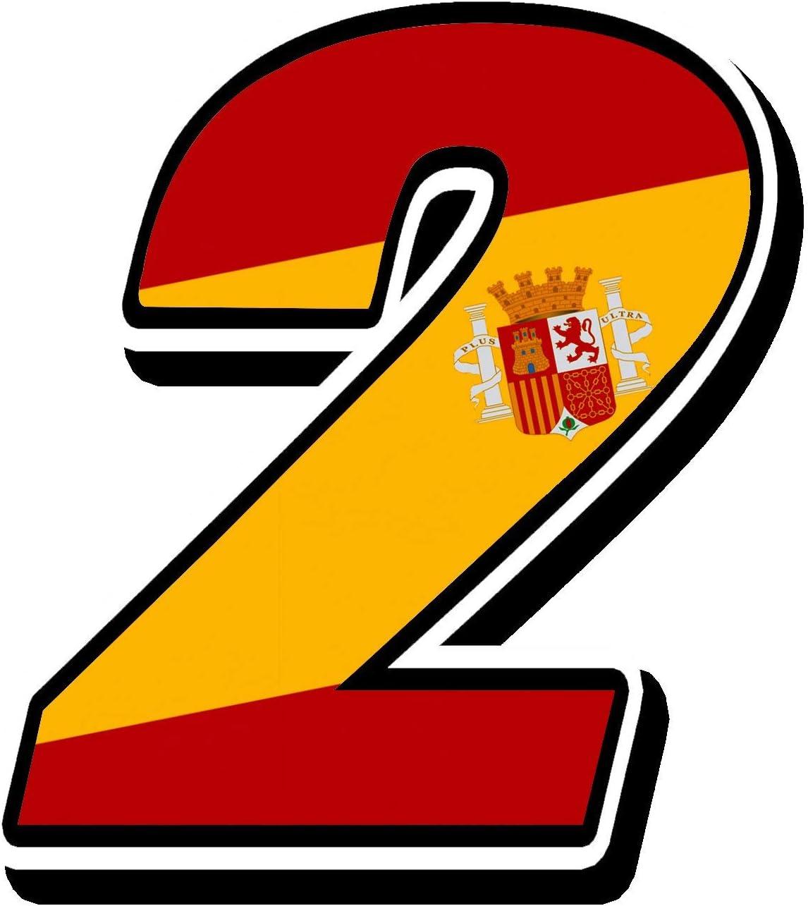 Biomar Labs® Número 2 Bandera Nacional España Spain Calavera Vinilo Adhesivo Pegatina Coche Auto Motocross Moto Sport Start Racing Tuning N 282: Amazon.es: Coche y moto